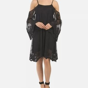 Off the shoulder black lace Elan dress